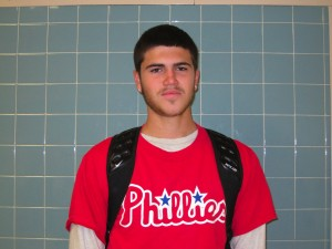 Billy Scheid wears his phills shirts to school after their game one win of the world series