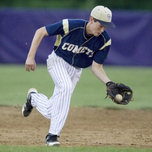Penn Manor senior second baseman Cody Straub takes a ball off the hop. Photo courtesy John Whitehead, The Patriot News.