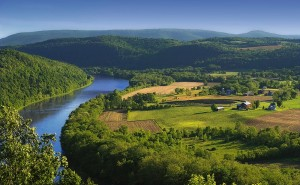 The Susquehanna River, shown here in Bradford County, was not listed as impaired in a recent report but many say it should be. Photo source originally posted to Flickr as Meander via wikipedia.