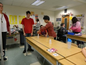 "Students in the Activities Club enjoyed a ""Minute to Win It"" game at a recent meeting."
