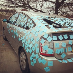 Senior Dave Glick has used sticky notes to tease senior Emily Adams about parking incorrectly before. The same method was ideal to ask Adams to prom.