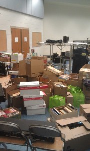 Thousands of books are being stored in the band room in preparation for this weekend's book sale. (Photo by Devon Reis)