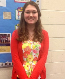 Junior Rachel Hreben also wears florals, but chose bright colors, another popular spring trend.
