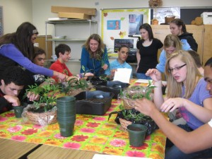 Students in the floriculture class