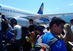 Departing from Sarajevo International Airport, Bosnia and Herzegovina. On the photo, Tarik Slanjankic.