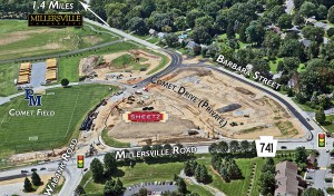 The photo above shows the construction of the Millersville Commons and the Sheetz being built next to Penn Manor's athletic fields. Both Comet Drive and Wabank Road have been extended to Millersville Road (741). Barbara Street has been altered to connect with Wabank Road. Comet Drive splits the Sheetz from where the Millersville Commons is going to be. (Photo provided)