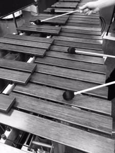 Senior Caleb Breidenbaugh plays a marimba.