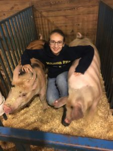 Rebecca High and her two pigs, Phoenix (left) and Jett (right).