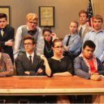 """Pictured above are the 13 actors who take part in Penn Manor's production of """"Twelve Angry Jurors."""" From left to right, (back row) Parker Brown, Alexander Anderson, Garrison Webster, Hailey Fafel, Logan Graves, Max Minnick, Alex Patterson (middle row) Skyla Taglieri, Kassidy Ponton (front row) Madison Beatty, Logan Connelly, Claudia Heitland, Kristopher Boston. (Photo provided)"""