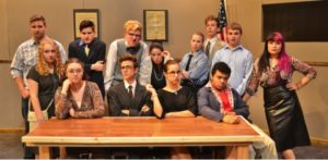 "Pictured above are the 13 actors who take part in Penn Manor's production of ""Twelve Angry Jurors."" From left to right, (back row) Parker Brown, Alexander Anderson, Garrison Webster, Hailey Fafel, Logan Graves, Max Minnick, Alex Patterson (middle row) Skyla Taglieri, Kassidy Ponton (front row) Madison Beatty, Logan Connelly, Claudia Heitland, Kristopher Boston. (Photo provided)"